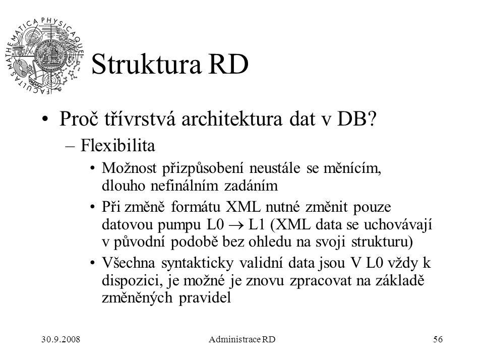 30.9.2008Administrace RD56 Struktura RD Proč třívrstvá architektura dat v DB.