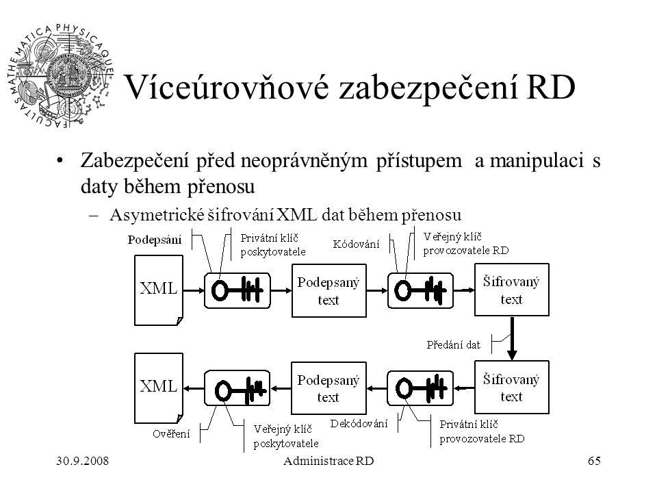 30.9.2008Administrace RD65 Víceúrovňové zabezpečení RD Zabezpečení před neoprávněným přístupem a manipulaci s daty během přenosu –Asymetrické šifrování XML dat během přenosu