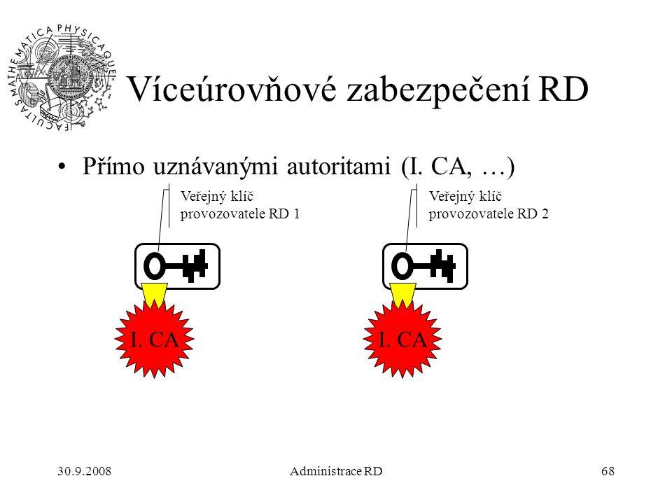 30.9.2008Administrace RD68 Víceúrovňové zabezpečení RD Přímo uznávanými autoritami (I.