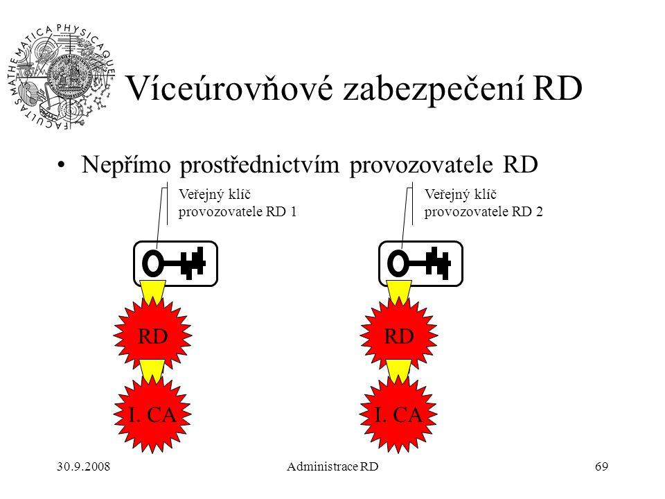 30.9.2008Administrace RD69 Víceúrovňové zabezpečení RD Nepřímo prostřednictvím provozovatele RD Veřejný klíč provozovatele RD 2 Veřejný klíč provozovatele RD 1 RD I.