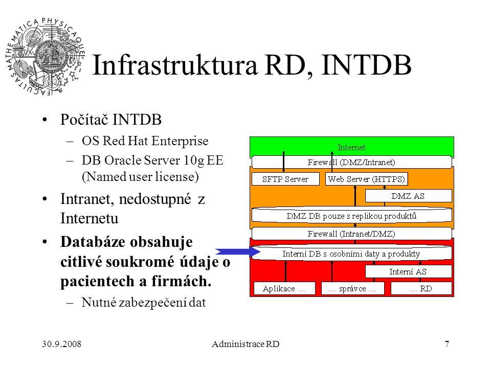 30.9.2008Administrace RD28 Struktura DB Každý uživatel může mít stanovenu pro každý tabulkový prostor kvótu –maximální prostor, který může v DB v daném tabulkovém prostoru zabrat UNLIMITED – neomezená (pouze velikostí úložiště pod ním) Konkrétní velikost – 10M, 1024M, … Žádnou –MZDRG má neomezenou kvótu ve svém prostoru –Pro dočasné prostory se kvóty nepřidělují –Kvóta se počítá vlastníkovi tabulky, ne tomu, kdo data vkládá Uživatelé, kteří s daty uživatele MZDRG jen pracují nepotřebují mít v DB žádné kvóty