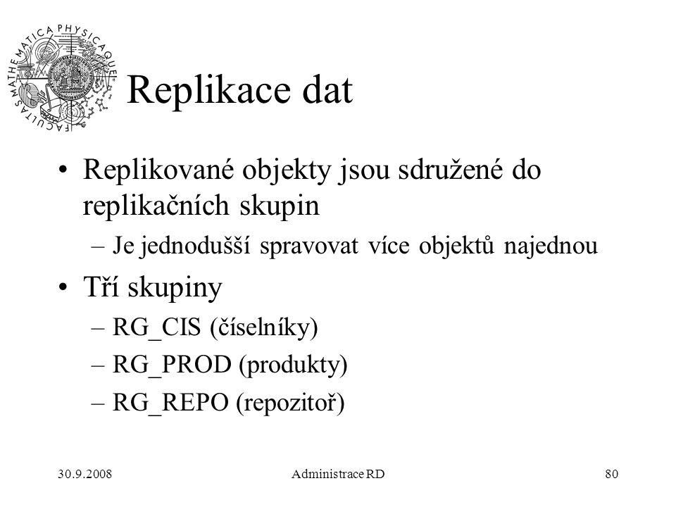 30.9.2008Administrace RD80 Replikace dat Replikované objekty jsou sdružené do replikačních skupin –Je jednodušší spravovat více objektů najednou Tří skupiny –RG_CIS (číselníky) –RG_PROD (produkty) –RG_REPO (repozitoř)