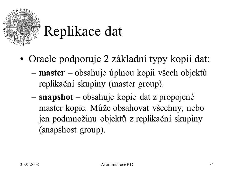 30.9.2008Administrace RD81 Replikace dat Oracle podporuje 2 základní typy kopií dat: –master – obsahuje úplnou kopii všech objektů replikační skupiny (master group).