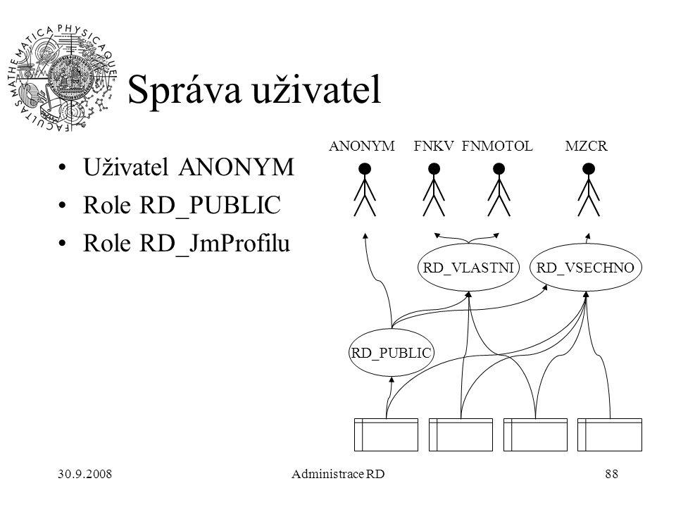 30.9.2008Administrace RD88 Správa uživatel Uživatel ANONYM Role RD_PUBLIC Role RD_JmProfilu RD_PUBLIC RD_VLASTNIRD_VSECHNO ANONYMFNKVFNMOTOLMZCR