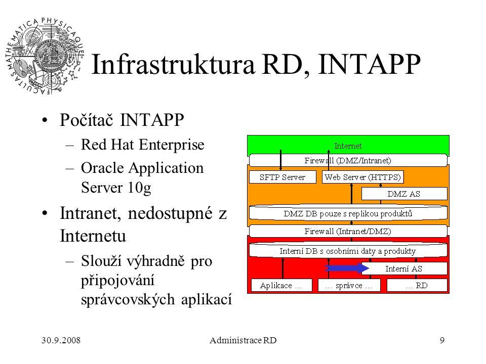 30.9.2008Administrace RD10 Infrastruktura RD, DMZDB Počítač DMZDB –OS Red Hat Enterprise –Oracle Server 10g EE (Processor license) DMZ dostupné z Internetu pouze nepřímo –prostřednictvím aplikačního Oracle serveru –prostřednictvím web serveru Databáze neobsahuje citlivé soukromé údaje o pacientech a firmách.