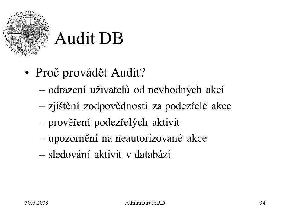 30.9.2008Administrace RD94 Audit DB Proč provádět Audit.