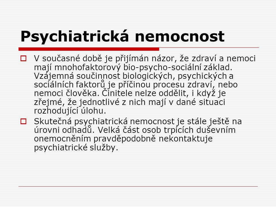 Psychiatrická nemocnost  V současné době je přijímán názor, že zdraví a nemoci mají mnohofaktorový bio-psycho-sociální základ.