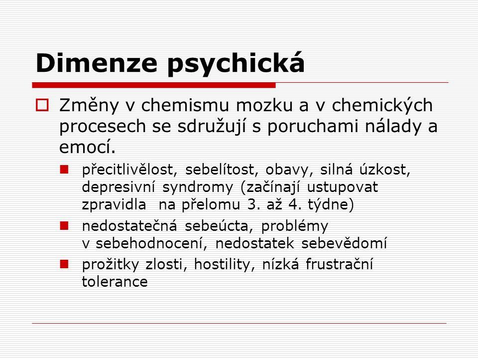 Dimenze psychická  Změny v chemismu mozku a v chemických procesech se sdružují s poruchami nálady a emocí.