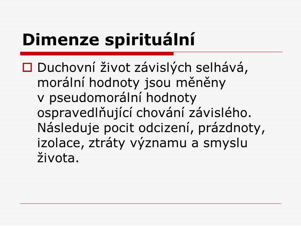 Dimenze spirituální  Duchovní život závislých selhává, morální hodnoty jsou měněny v pseudomorální hodnoty ospravedlňující chování závislého.