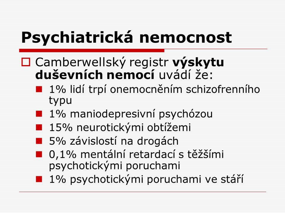 Psychiatrická nemocnost  Camberwellský registr výskytu duševních nemocí uvádí že: 1% lidí trpí onemocněním schizofrenního typu 1% maniodepresivní psychózou 15% neurotickými obtížemi 5% závislostí na drogách 0,1% mentální retardací s těžšími psychotickými poruchami 1% psychotickými poruchami ve stáří