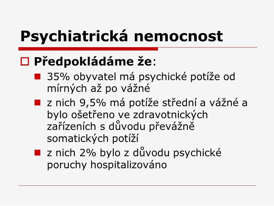 Psychiatrická nemocnost  Předpokládáme že: 35% obyvatel má psychické potíže od mírných až po vážné z nich 9,5% má potíže střední a vážné a bylo ošetřeno ve zdravotnických zařízeních s důvodu převážně somatických potíží z nich 2% bylo z důvodu psychické poruchy hospitalizováno