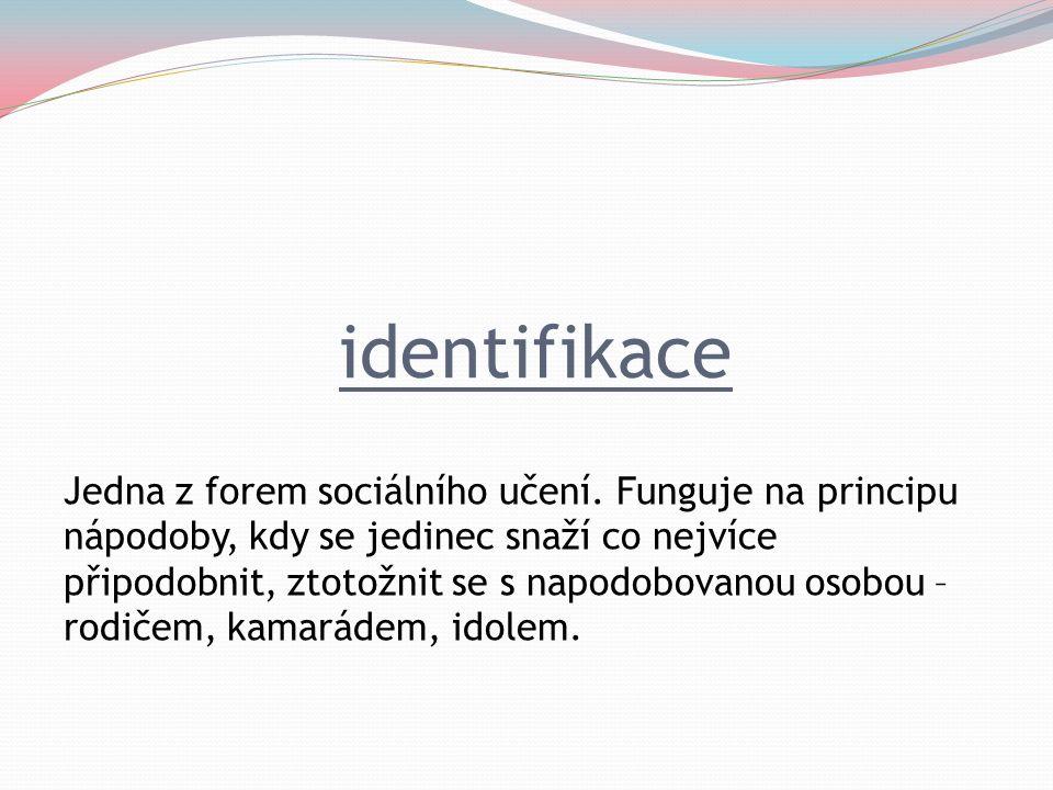 identifikace Jedna z forem sociálního učení.