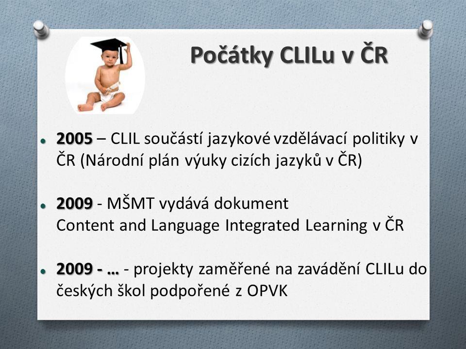 Počátky CLILu v ČR 2005 2005 – CLIL součástí jazykové vzdělávací politiky v ČR (Národní plán výuky cizích jazyků v ČR) 2009 2009 - MŠMT vydává dokument Content and Language Integrated Learning v ČR 2009 - … 2009 - … - projekty zaměřené na zavádění CLILu do českých škol podpořené z OPVK