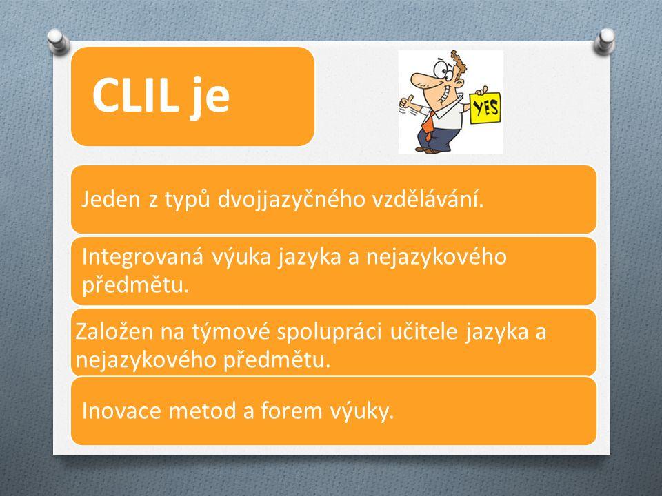 CLIL je Jeden z typů dvojjazyčného vzdělávání. Integrovaná výuka jazyka a nejazykového předmětu.