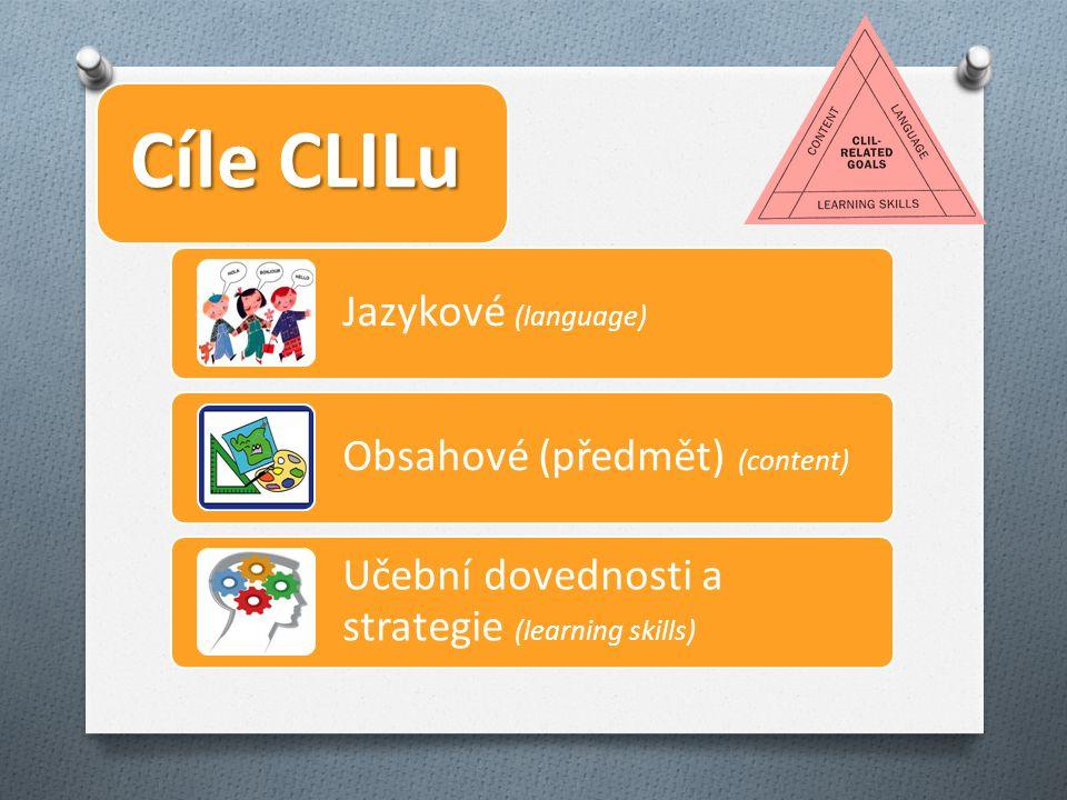 Cíle CLILu Jazykové (language) Obsahové (předmět) (content) Učební dovednosti a strategie (learning skills)