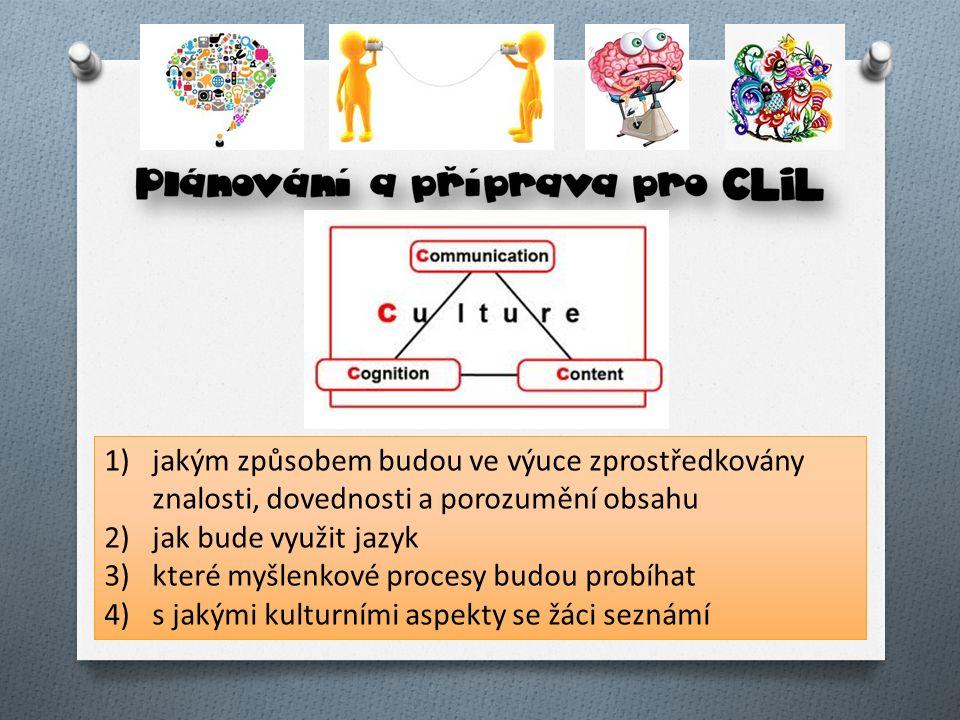 1)jakým způsobem budou ve výuce zprostředkovány znalosti, dovednosti a porozumění obsahu 2)jak bude využit jazyk 3)které myšlenkové procesy budou prob