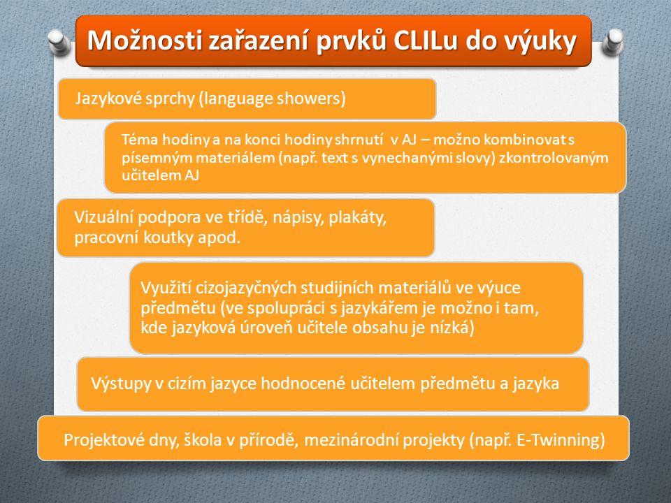 Jazykové sprchy (language showers) Téma hodiny a na konci hodiny shrnutí v AJ – možno kombinovat s písemným materiálem (např. text s vynechanými slovy