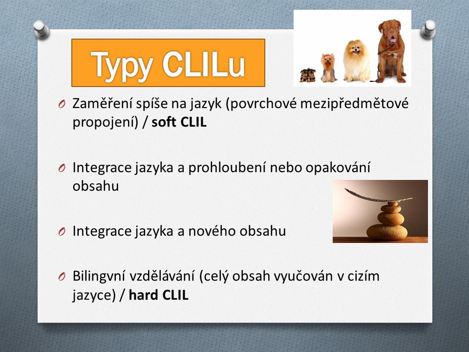 O Zaměření spíše na jazyk (povrchové mezipředmětové propojení) / soft CLIL O Integrace jazyka a prohloubení nebo opakování obsahu O Integrace jazyka a nového obsahu O Bilingvní vzdělávání (celý obsah vyučován v cizím jazyce) / hard CLIL