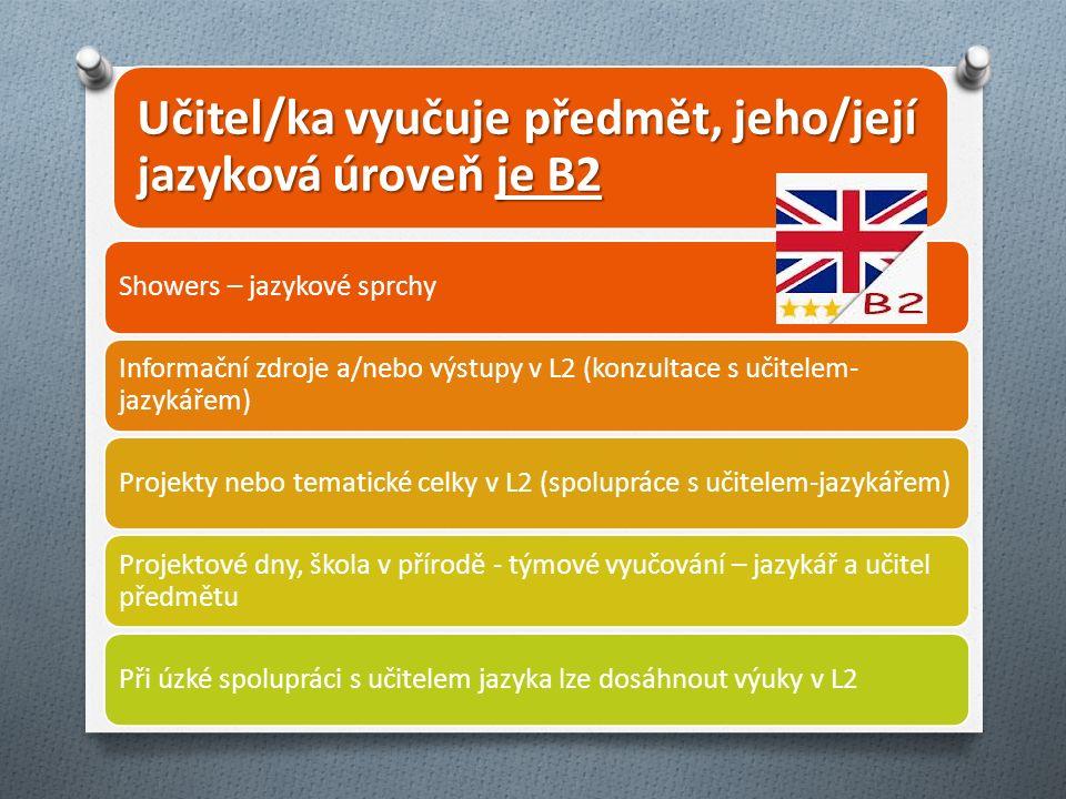 Učitel/ka vyučuje předmět, jeho/její jazyková úroveň je B2 Showers – jazykové sprchy Informační zdroje a/nebo výstupy v L2 (konzultace s učitelem- jazykářem) Projekty nebo tematické celky v L2 (spolupráce s učitelem-jazykářem) Projektové dny, škola v přírodě - týmové vyučování – jazykář a učitel předmětu Při úzké spolupráci s učitelem jazyka lze dosáhnout výuky v L2