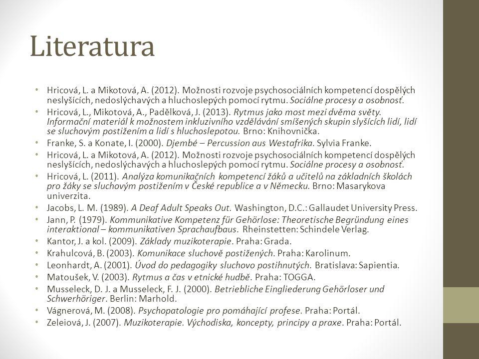 Literatura Hricová, L. a Mikotová, A. (2012). Možnosti rozvoje psychosociálních kompetencí dospělých neslyšících, nedoslýchavých a hluchoslepých pomoc