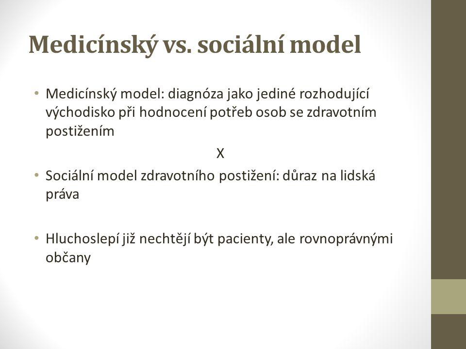 Medicínský vs. sociální model Medicínský model: diagnóza jako jediné rozhodující východisko při hodnocení potřeb osob se zdravotním postižením X Sociá