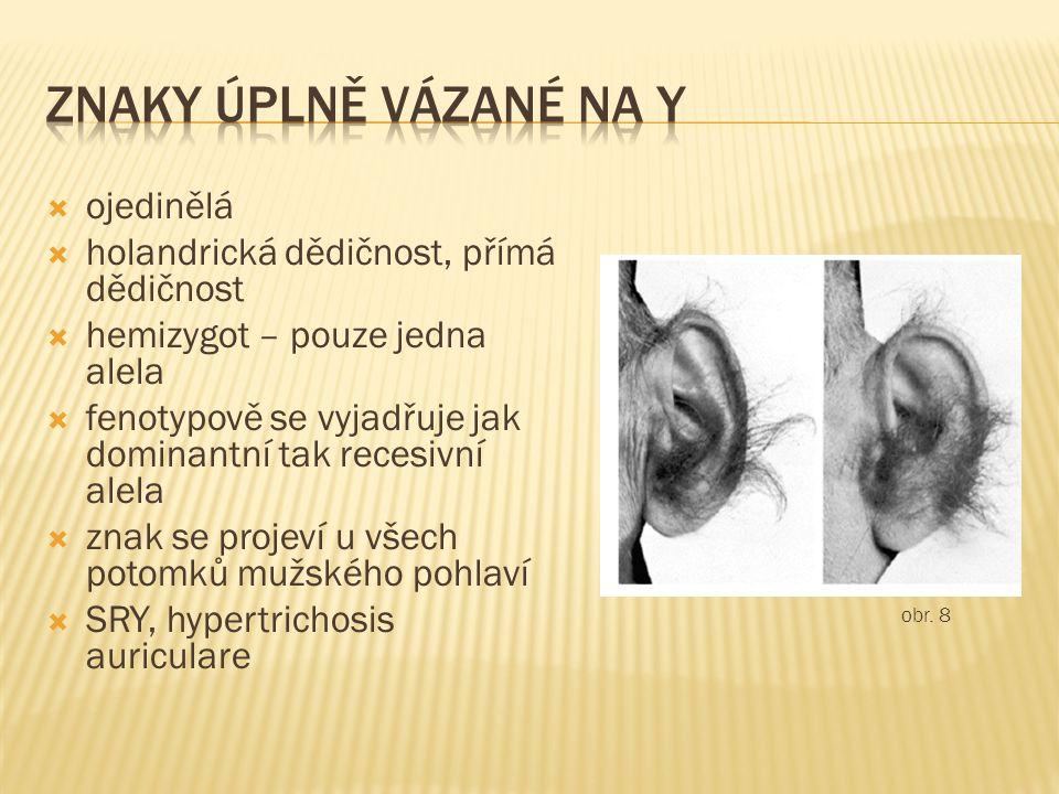  ojedinělá  holandrická dědičnost, přímá dědičnost  hemizygot – pouze jedna alela  fenotypově se vyjadřuje jak dominantní tak recesivní alela  znak se projeví u všech potomků mužského pohlaví  SRY, hypertrichosis auriculare obr.