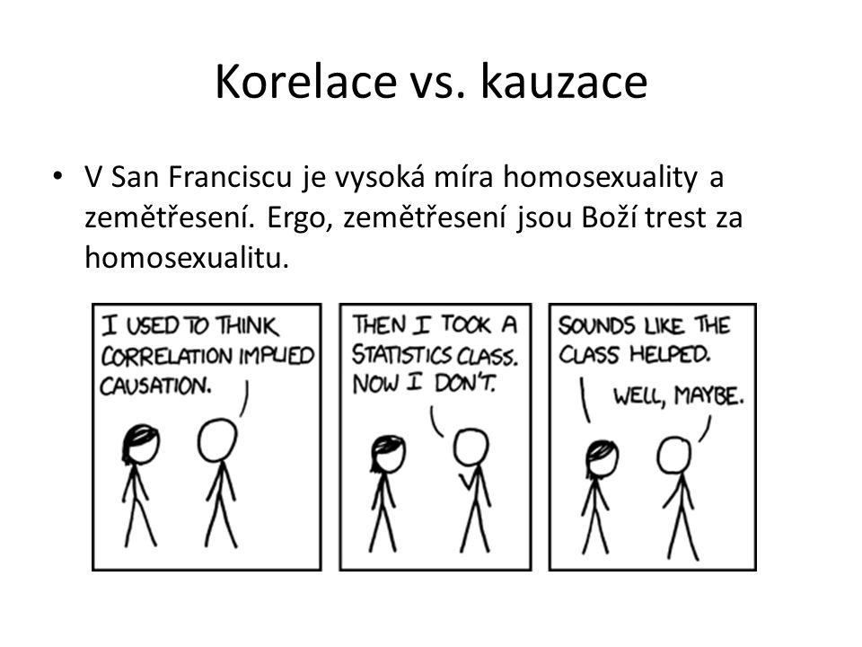 Korelace vs. kauzace V San Franciscu je vysoká míra homosexuality a zemětřesení. Ergo, zemětřesení jsou Boží trest za homosexualitu.