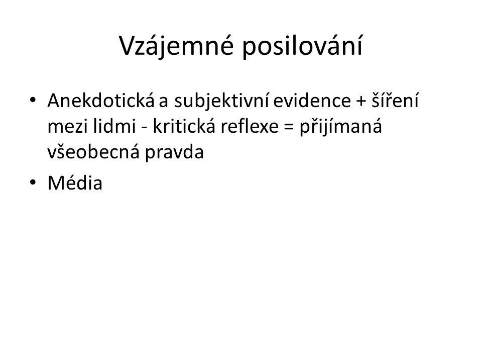 Vzájemné posilování Anekdotická a subjektivní evidence + šíření mezi lidmi - kritická reflexe = přijímaná všeobecná pravda Média