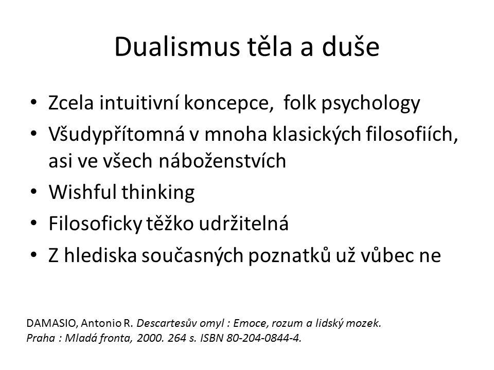 Dualismus těla a duše Zcela intuitivní koncepce, folk psychology Všudypřítomná v mnoha klasických filosofiích, asi ve všech náboženstvích Wishful thin