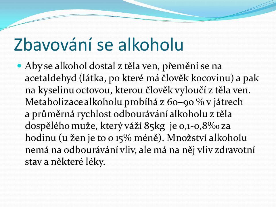 Zbavování se alkoholu Aby se alkohol dostal z těla ven, přemění se na acetaldehyd (látka, po které má člověk kocovinu) a pak na kyselinu octovou, kter