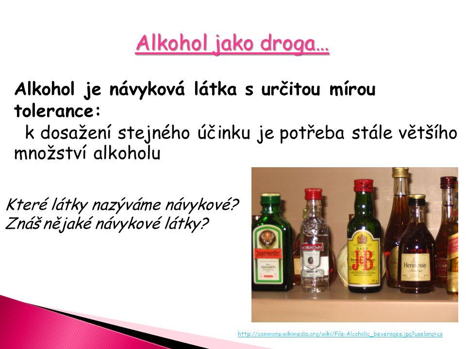 Alkohol jako droga… Alkohol je návyková látka s určitou mírou tolerance: k dosažení stejného účinku je potřeba stále většího množství alkoholu Které l