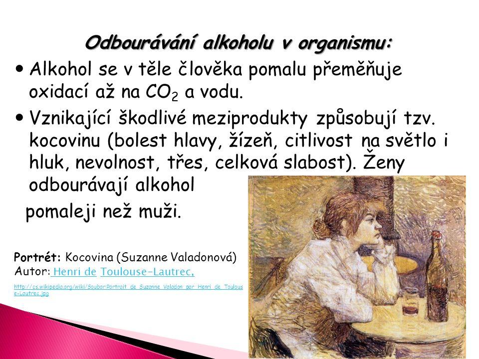 Odbourávání alkoholu v organismu: Alkohol se v těle člověka pomalu přeměňuje oxidací až na CO 2 a vodu. Vznikající škodlivé meziprodukty způsobují tzv