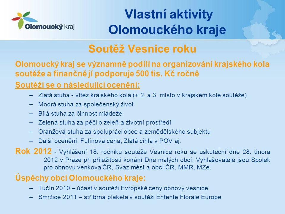 Soutěž Vesnice roku Olomoucký kraj se významně podílí na organizování krajského kola soutěže a finančně jí podporuje 500 tis. Kč ročně Soutěží se o ná