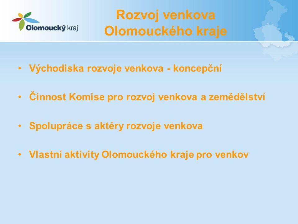 Východiska Koncepce zemědělské politiky a rozvoje venkova Olomouckého kraje (2006 – 2012) Akční plán Koncepce na období let 2010 – 2012 Priority: Rozvoj infrastruktury a vybavenosti venkovských sídel Podpora místní kultury a partnerství pro udržení a rozvoj venkovské společnosti Rozvoj alternativních ekonomických činností na venkově Podpora zemědělství a zlepšování životního prostředí Podklad pro různé dotační tituly (PRV, ROP,…)