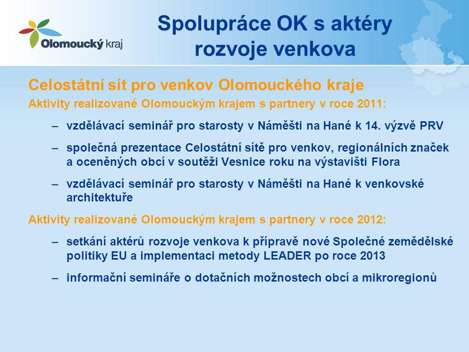Spolupráce OK s aktéry rozvoje venkova Celostátní sít pro venkov Olomouckého kraje Aktivity realizované Olomouckým krajem s partnery v roce 2011: –vzd