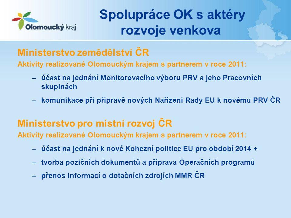 Spolupráce OK s aktéry rozvoje venkova Ministerstvo zemědělství ČR Aktivity realizované Olomouckým krajem s partnerem v roce 2011: –účast na jednání M