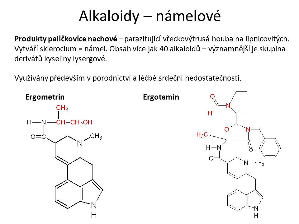 Alkaloidy – námelové Produkty paličkovice nachové – parazitující vřeckovýtrusá houba na lipnicovitých.