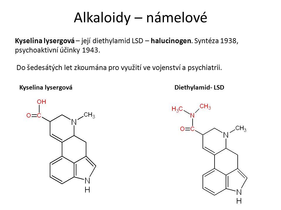 Alkaloidy – námelové Kyselina lysergová – její diethylamid LSD – halucinogen.