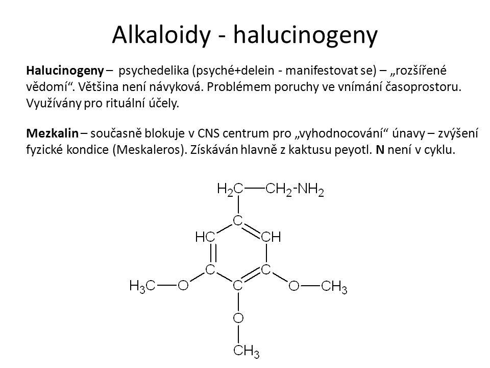 """Alkaloidy - halucinogeny Halucinogeny – psychedelika (psyché+delein - manifestovat se) – """"rozšířené vědomí ."""