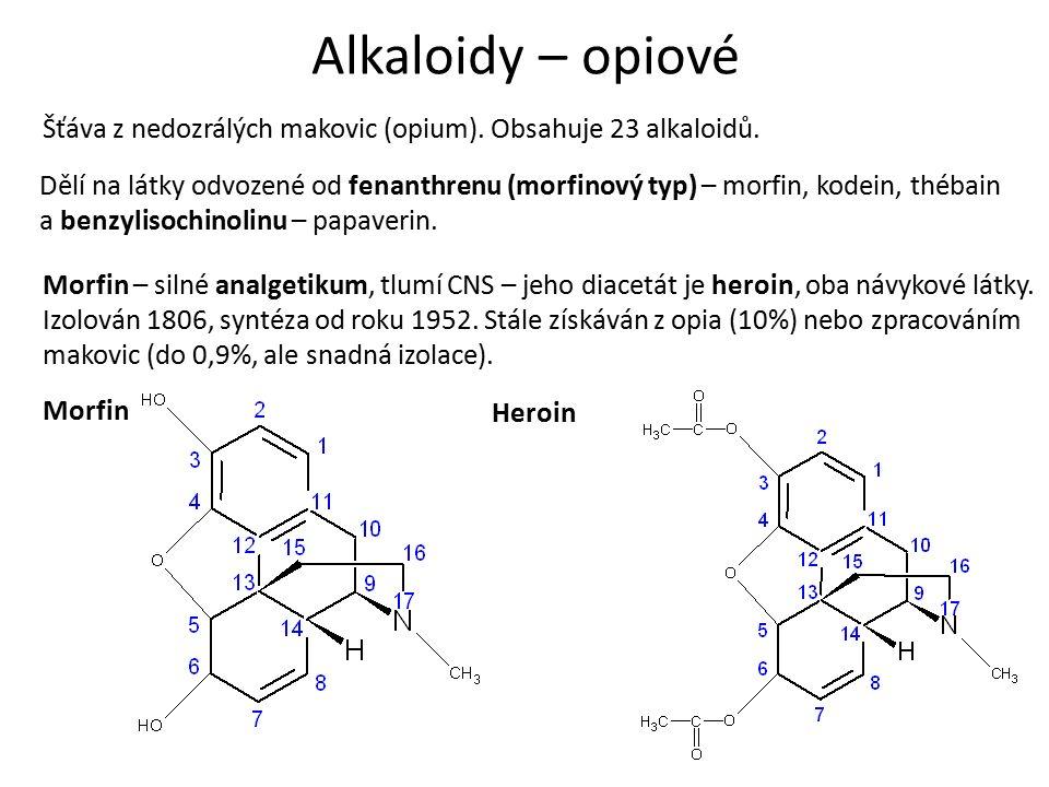 Alkaloidy – opiové Kodein – získáván ze surového opia (0,5%), synteticky nebo methylací morfinu.