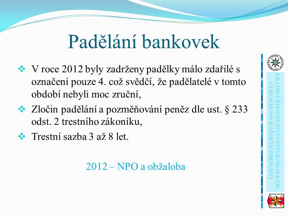 Padělání bankovek  V roce 2012 byly zadrženy padělky málo zdařilé s označení pouze 4.