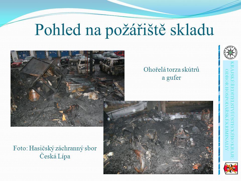 Foto: Hasičský záchranný sbor Česká Lípa Pohled na požářiště skladu Ohořelá torza skútrů a gufer KRAJSKÉ ŘEDITELSTVÍ ÚSTECKÉHO KRAJE ODBOR HOSPODÁŘSKÉ KRIMINALIY