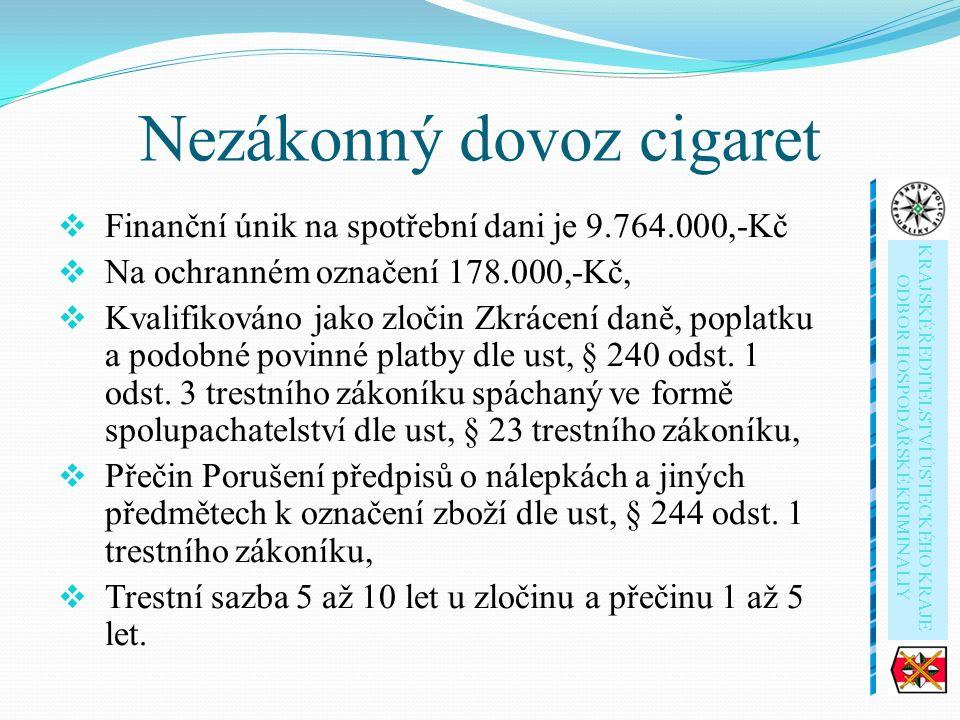 Nezákonný dovoz cigaret  Finanční únik na spotřební dani je 9.764.000,-Kč  Na ochranném označení 178.000,-Kč,  Kvalifikováno jako zločin Zkrácení daně, poplatku a podobné povinné platby dle ust, § 240 odst.