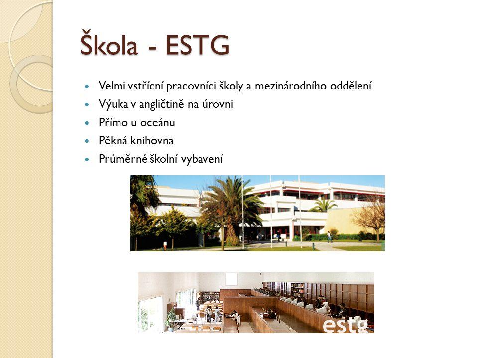 Škola - ESTG Velmi vstřícní pracovníci školy a mezinárodního oddělení Výuka v angličtině na úrovni Přímo u oceánu Pěkná knihovna Průměrné školní vybavení