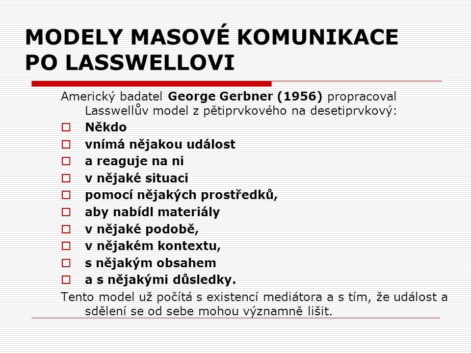 MODELY MASOVÉ KOMUNIKACE PO LASSWELLOVI Americký badatel George Gerbner (1956) propracoval Lasswellův model z pětiprvkového na desetiprvkový:  Někdo