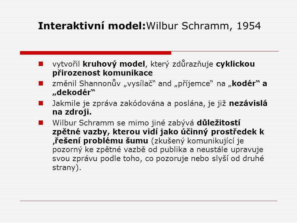 """Interaktivní model:Wilbur Schramm, 1954 vytvořil kruhový model, který zdůrazňuje cyklickou přirozenost komunikace změnil Shannonův """"vysílač and """"příjemce na """"kodér a """"dekodér Jakmile je zpráva zakódována a poslána, je již nezávislá na zdroji."""