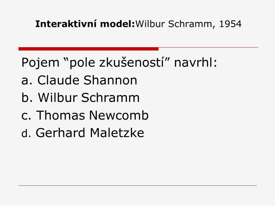"Interaktivní model:Wilbur Schramm, 1954 Pojem ""pole zkušeností"" navrhl: a. Claude Shannon b. Wilbur Schramm c. Thomas Newcomb d. Gerhard Maletzke"