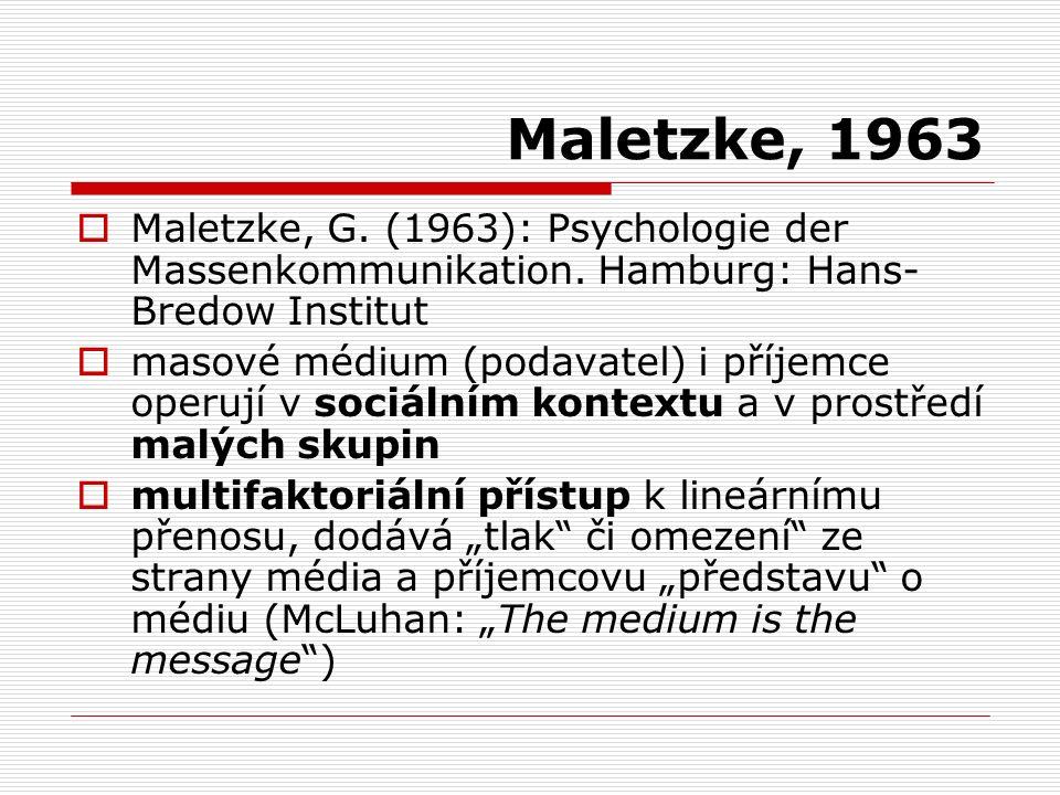 Maletzke, 1963  Maletzke, G. (1963): Psychologie der Massenkommunikation. Hamburg: Hans- Bredow Institut  masové médium (podavatel) i příjemce operu