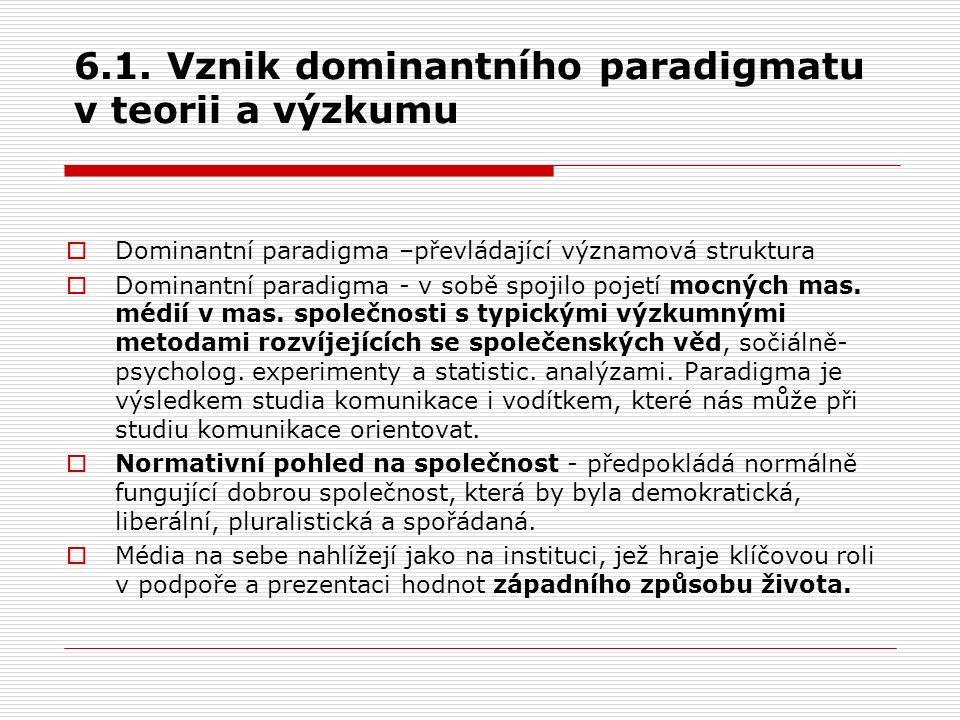 6.1. Vznik dominantního paradigmatu v teorii a výzkumu  Dominantní paradigma –převládající významová struktura  Dominantní paradigma - v sobě spojil