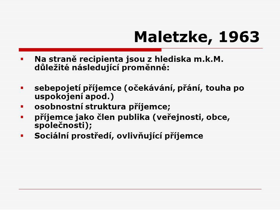 Maletzke, 1963  Na straně recipienta jsou z hlediska m.k.M. důležité následující proměnné:  sebepojetí příjemce (očekávání, přání, touha po uspokoje